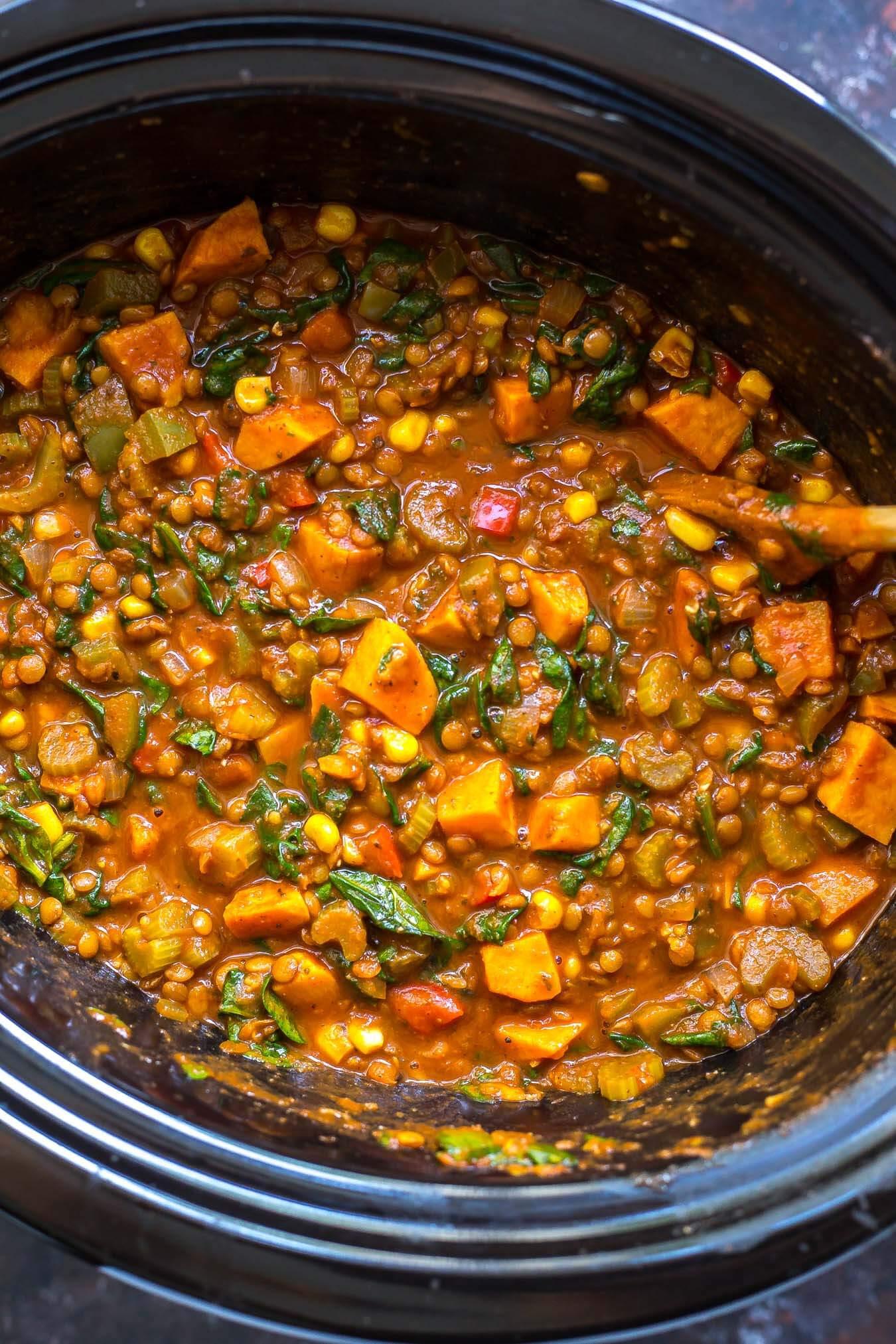 Sweet Potato Chili Slow Cooker  Slow Cooker Sweet Potato Lentil Chili