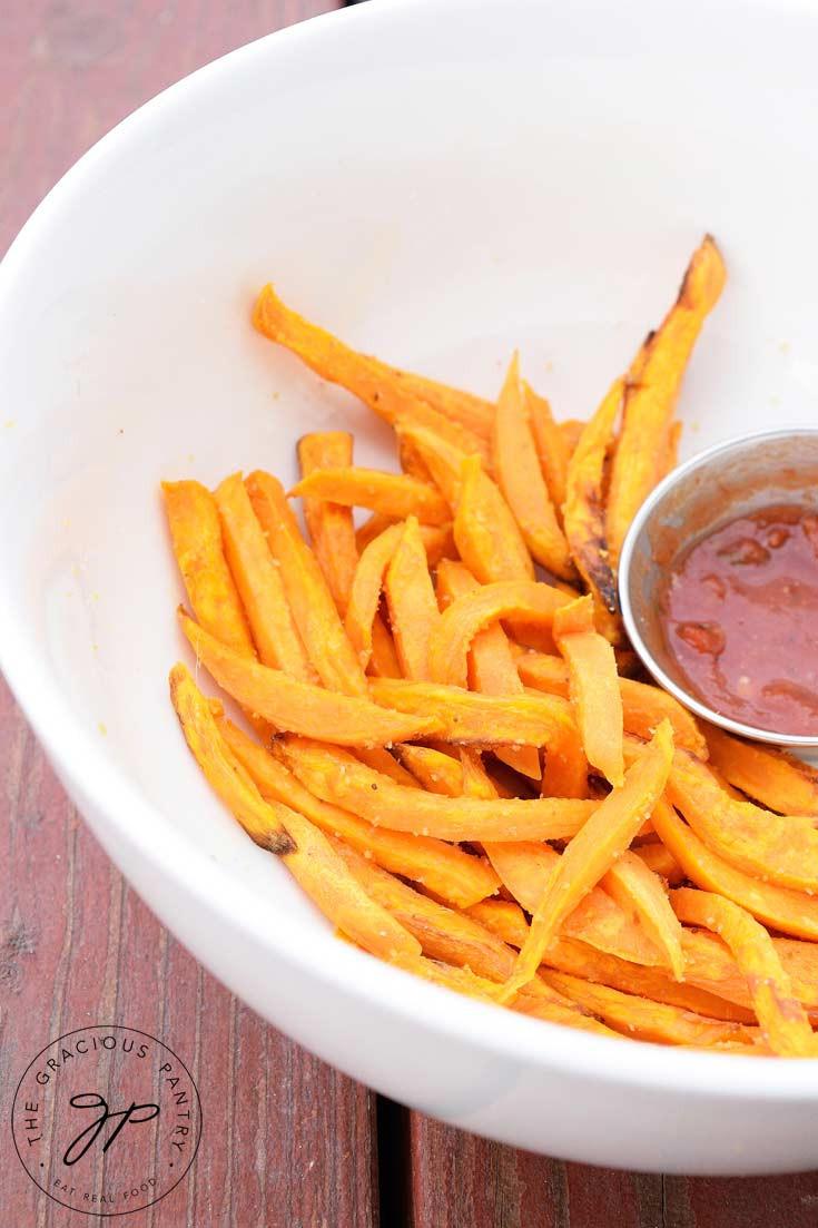 Sweet Potato Fries Air Fryer  Clean Eating Air Fryer Garlic Sweet Potato Fries Recipe