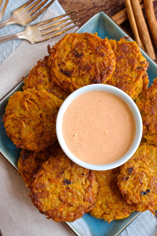 Sweet Potato Fritters  Sweet Potato Fritters with Sriracha Mayo Ciao Chow Bambina