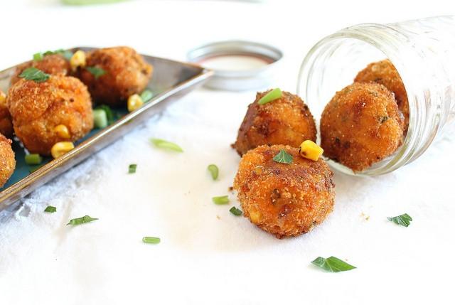 Sweet Potato Fritters  Sweet potato corn cheddar fritters