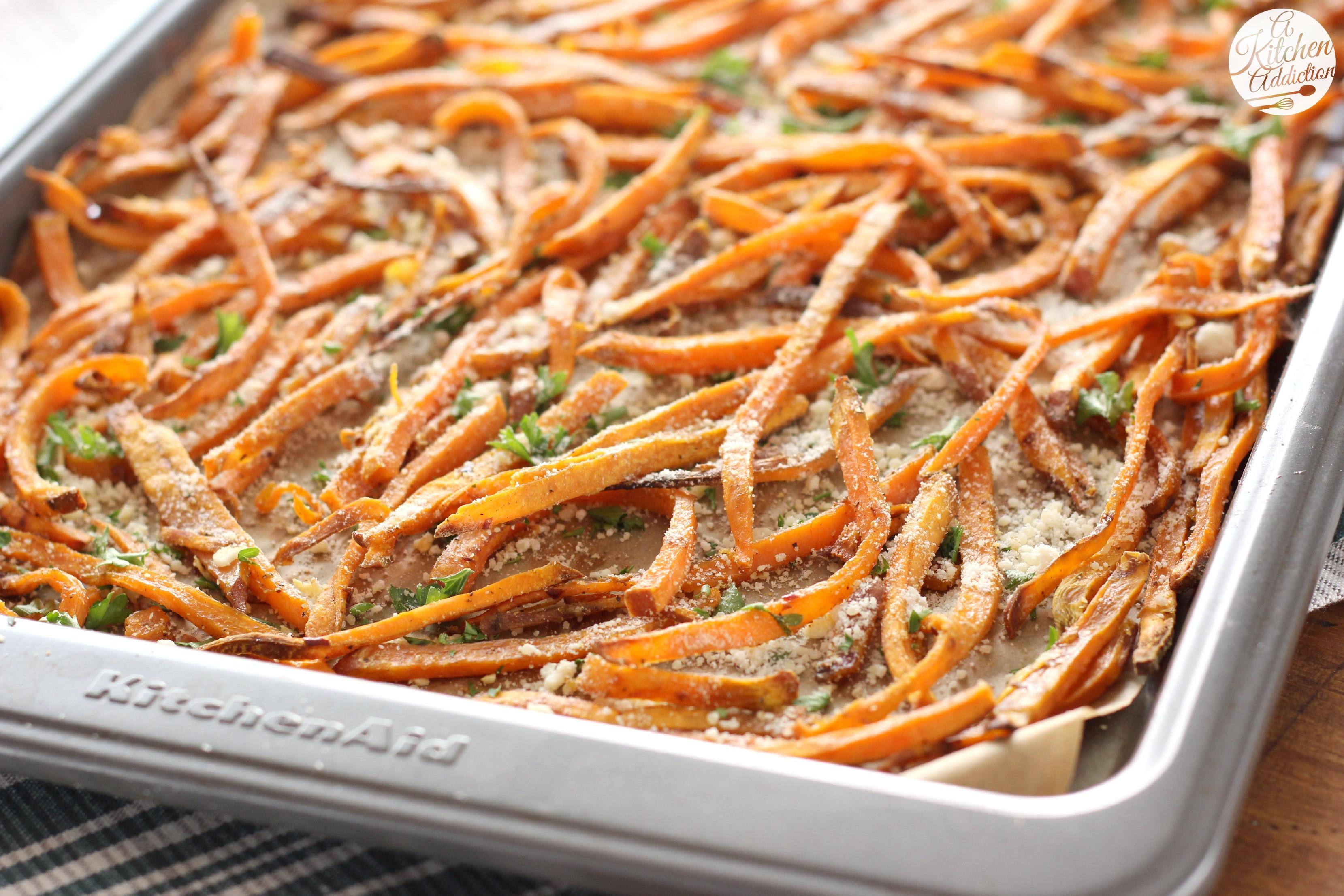 Sweet Potato Fry Recipe  Garlic and Herb Sweet Potato Fries A Kitchen Addiction