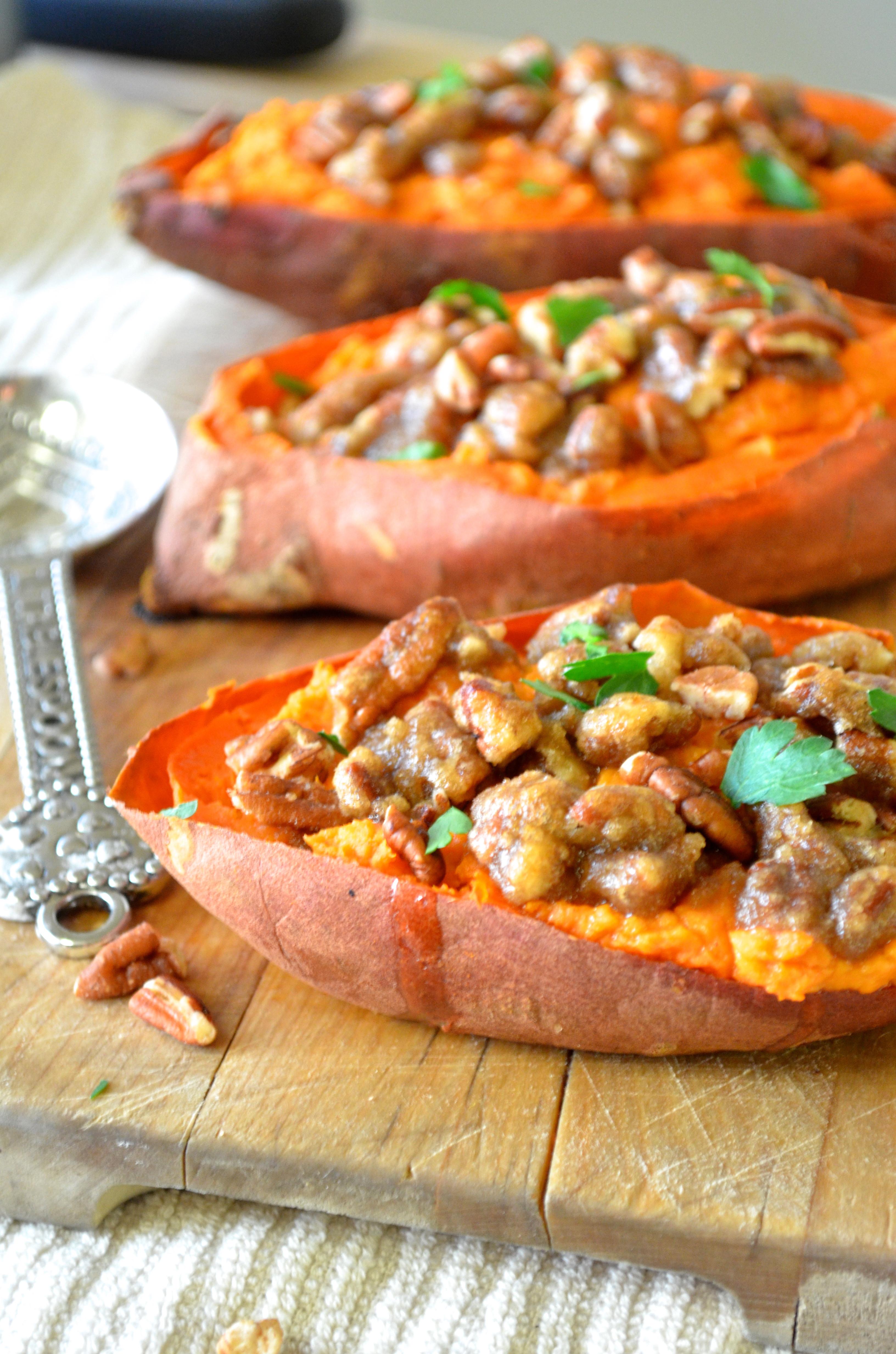 Sweet Potato Healthy  Twice Baked Sweet Potatoes with Pecan Streusel