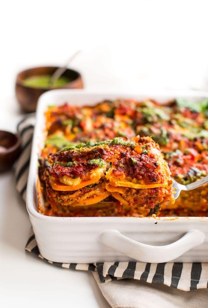 Sweet Potato Lasagna  Paleo Sweet Potato Lasagna with Almond Ricotta & Basil