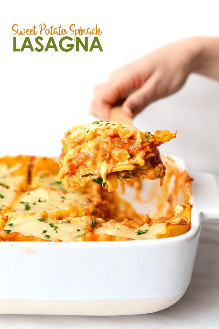 Sweet Potato Lasagna  Sweet Potato Spinach Lasagna Fit Foo Finds