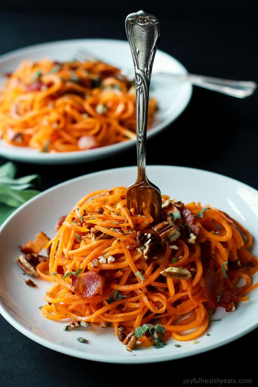Sweet Potato Noodles  Pomegranate Goat Cheese Can d Pecan Arugula Salad