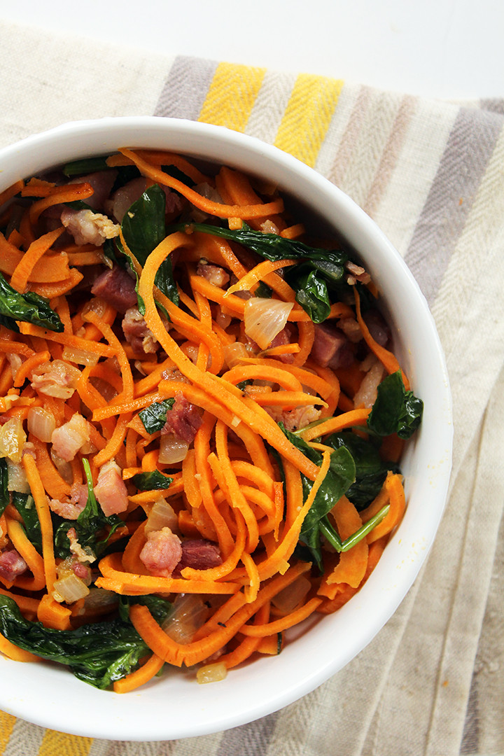 Sweet Potato Noodles  Garlic Sweet Potato Noodles with Pancetta and Baby Spinach