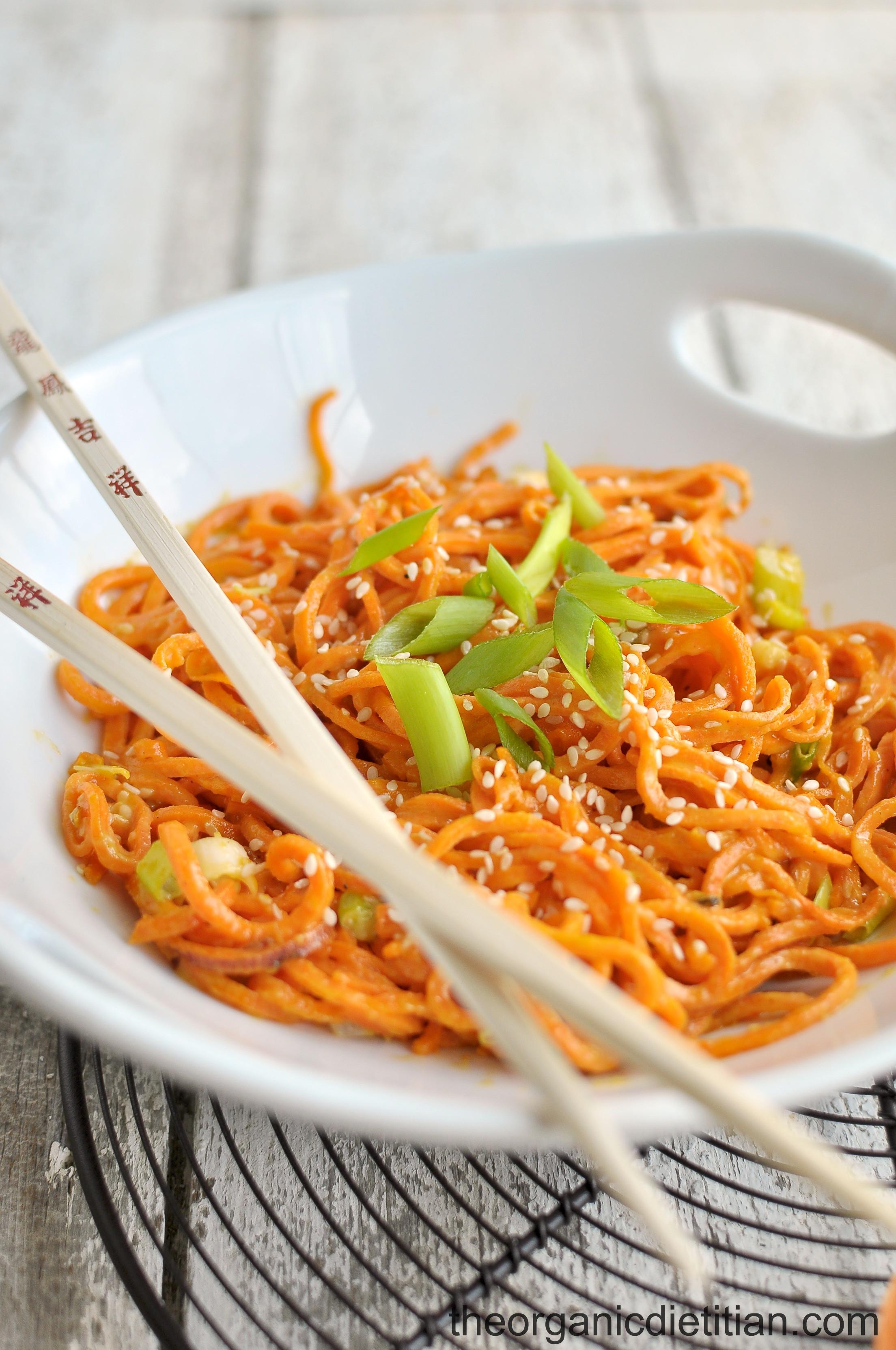 Sweet Potato Noodles  Sesame Sweet Potato Noodles The Organic Dietitian