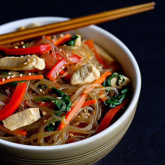 Sweet Potato Noodles  Asian Sweet Potato Noodles Recipe with Chicken & Ve ables