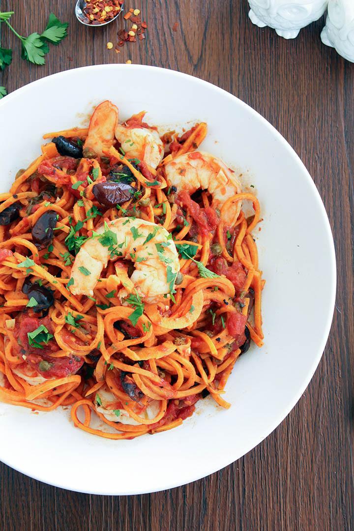 Sweet Potato Noodles  Sweet Potato Noodle Shrimp Puttanesca — Inspiralized