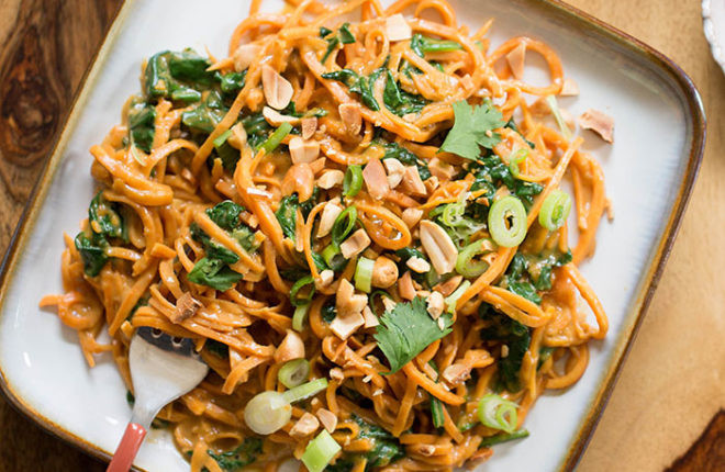Sweet Potato Noodles  20 Minute Sweet Potato Noodles with Spinach Kitchen Treaty