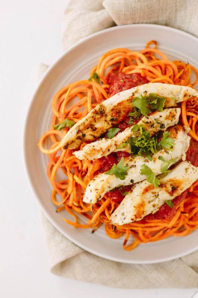 Sweet Potato Noodles  Sweet Potato Noodles with Chicken and Tomato Basil Sauce