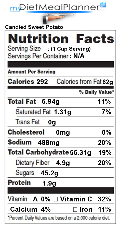 Sweet Potato Nutrition Information  Nutrition facts Label Ve ables 20 my tmealplanner