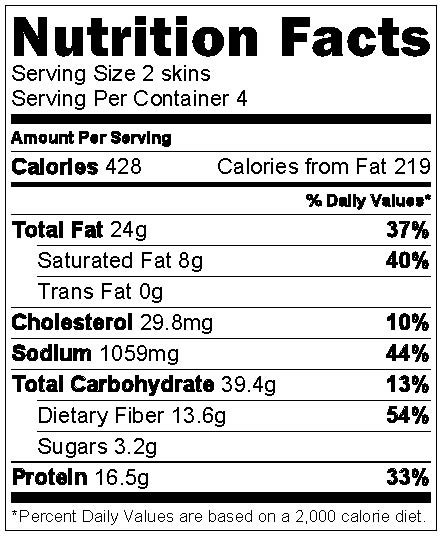 Sweet Potato Nutrition Information  Chipotle Black Bean Sweet Potato Skins