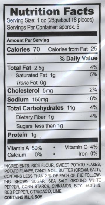 Sweet Potato Nutrition Information  Gluten Free Reviewer Gluten Free Snacks Jaxn s Twice