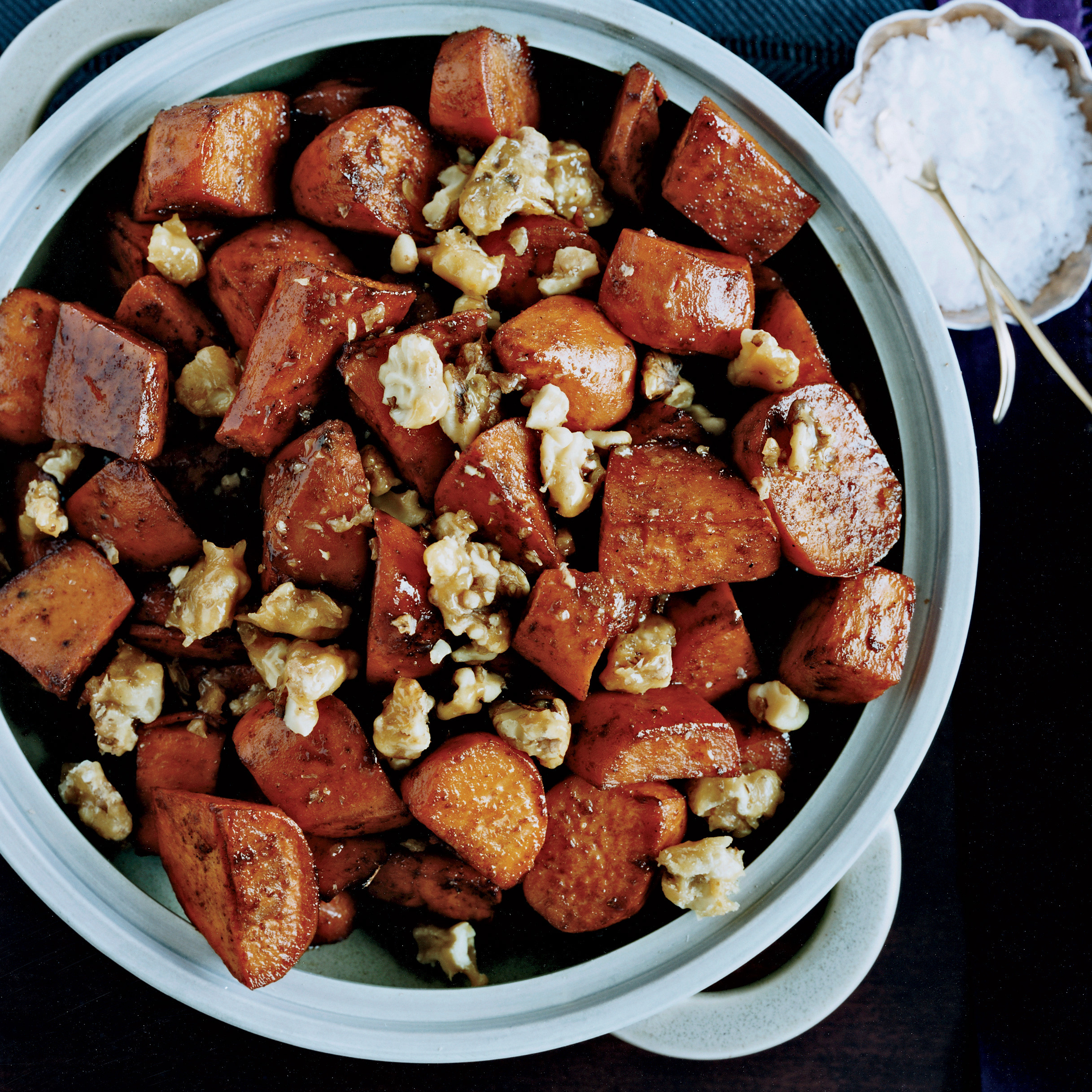 Sweet Potato Recipes For Thanksgiving  Five Spice Glazed Sweet Potatoes with Walnut Toffee Recipe