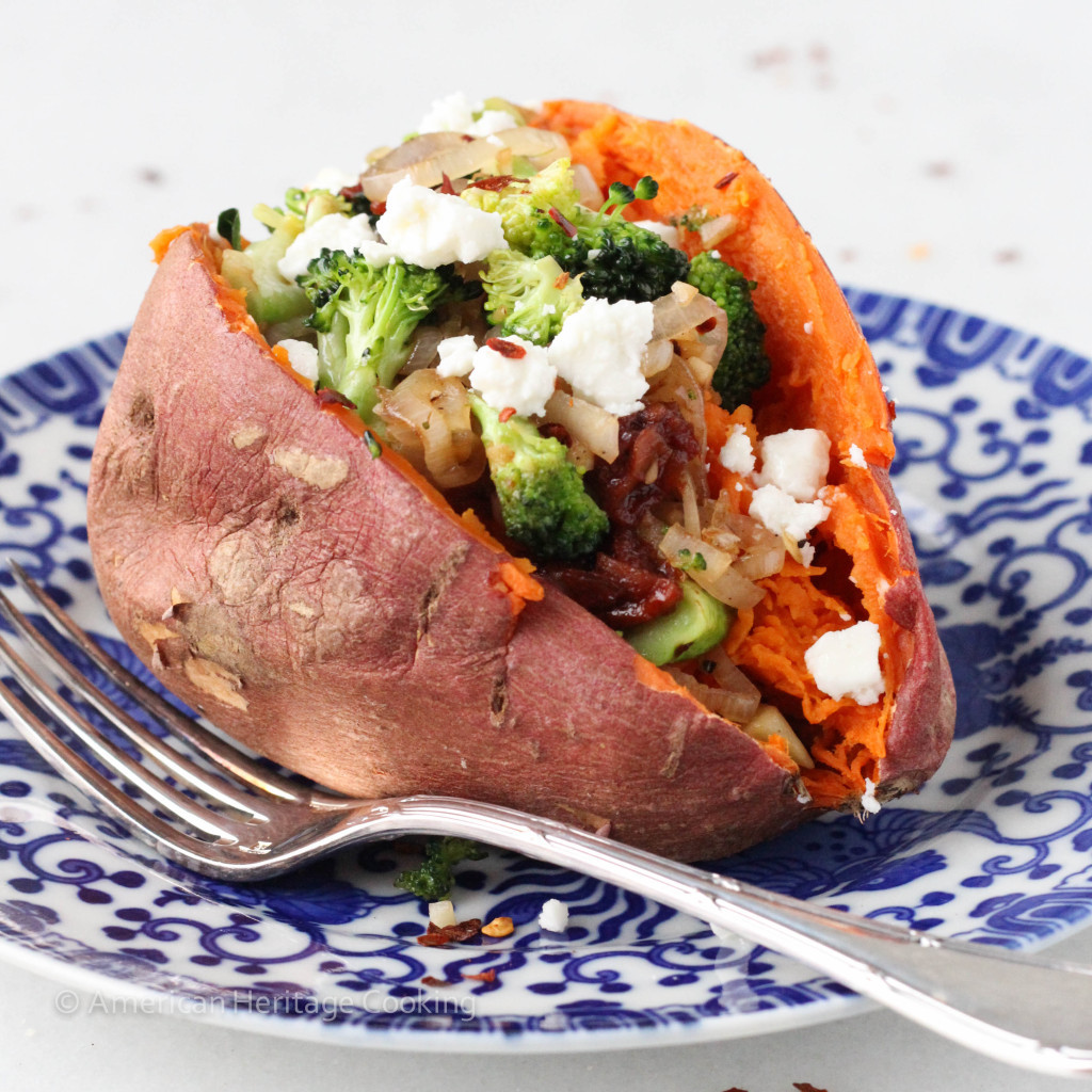 Sweet Potato Recipes Vegan  Broccoli Feta Sun Dried Tomato Shallot Stuffed Sweet