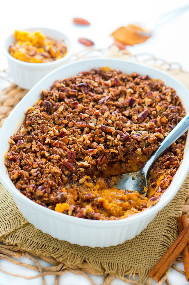 Sweet Potato Toppings  Healthy Sweet Potato Casserole with Pecan Topping