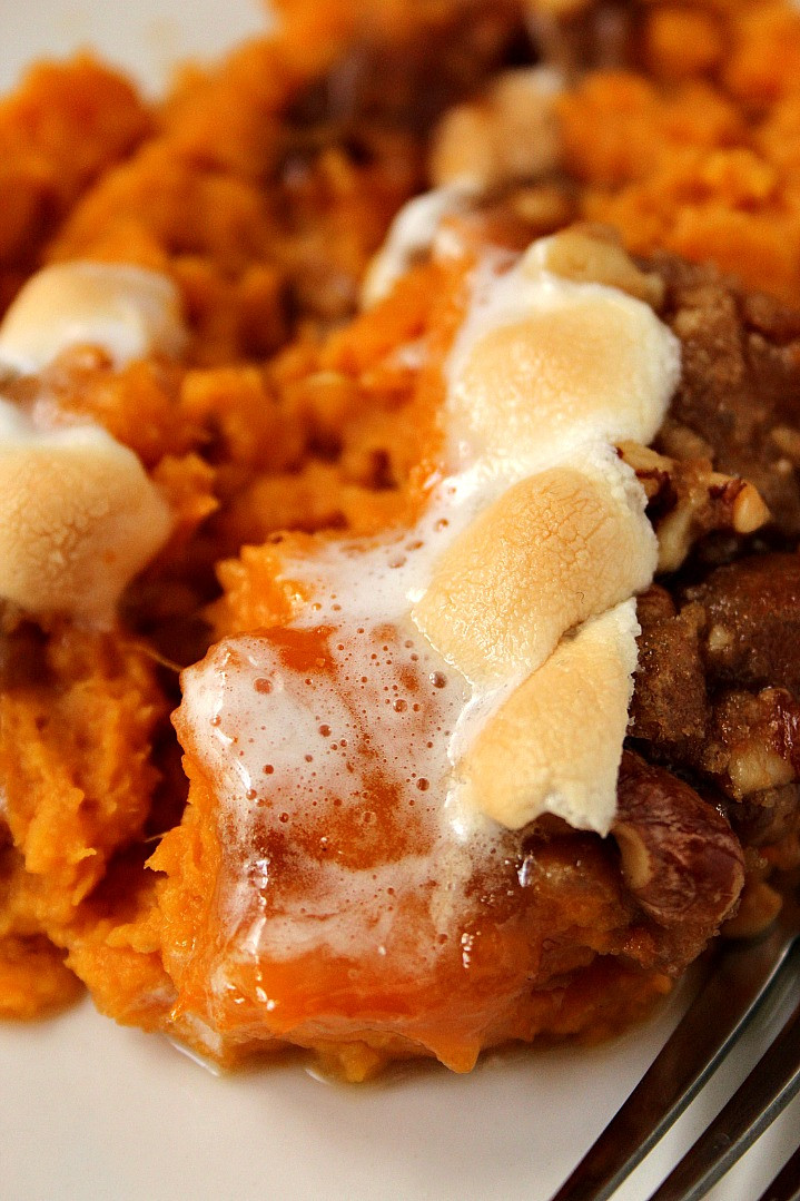 Sweet Potato Toppings  Sweet Potato Casserole with Praline Marshmallow Topping