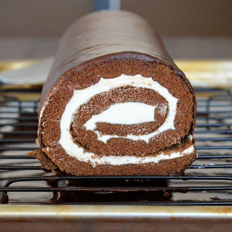 Swiss Roll Cake Recipe  Chocolate Cream Swiss Roll