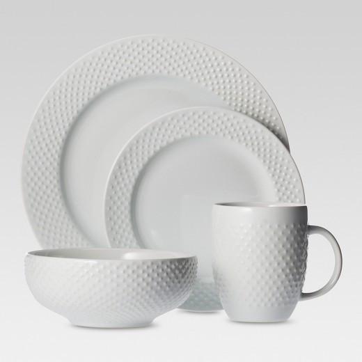 Target Dinner Sets  16pc Dinnerware Set White Beaded Rim Threshold Tar