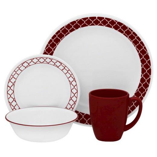 Target Dinner Sets  Corelle Livingware 16pc Dinnerware Set Crimson Trellis