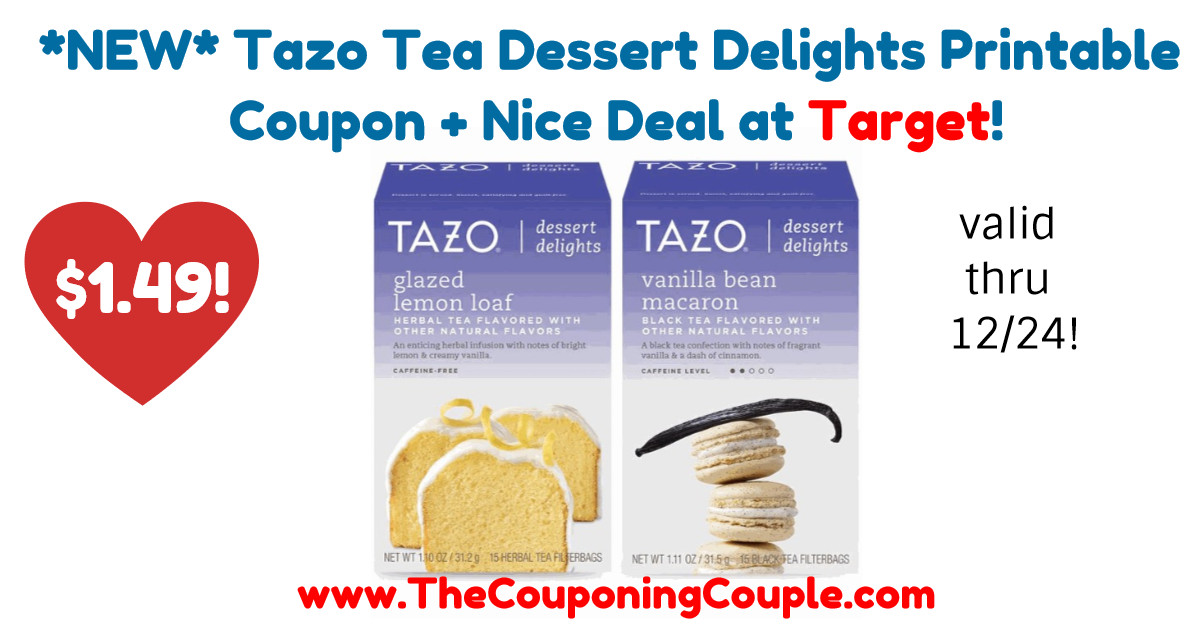 Tazo Tea Dessert Delights  NEW Tazo Tea Dessert Delights Printable Coupon Nice