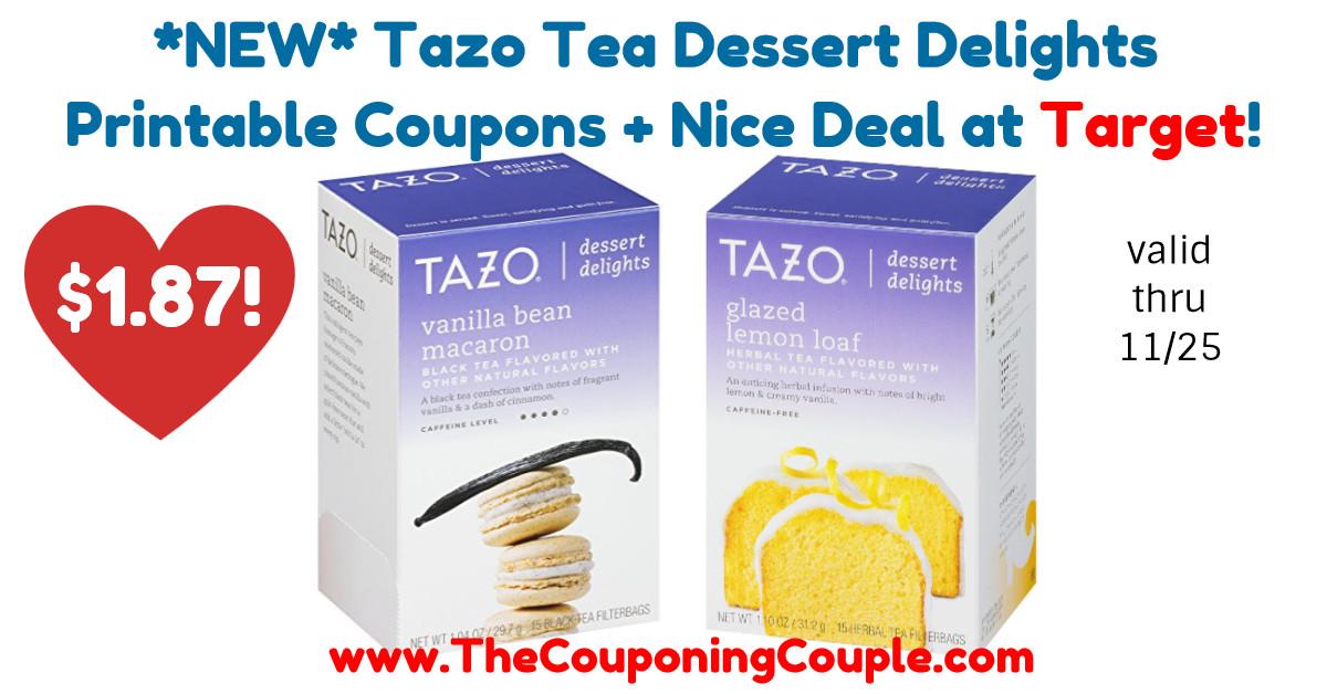 Tazo Tea Dessert Delights  NEW Tazo Tea Dessert Delights Printable Coupons Nice