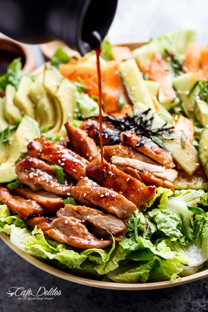 Teriyaki Chicken Salad  Teriyaki Glazed Chicken Salad Cafe Delites