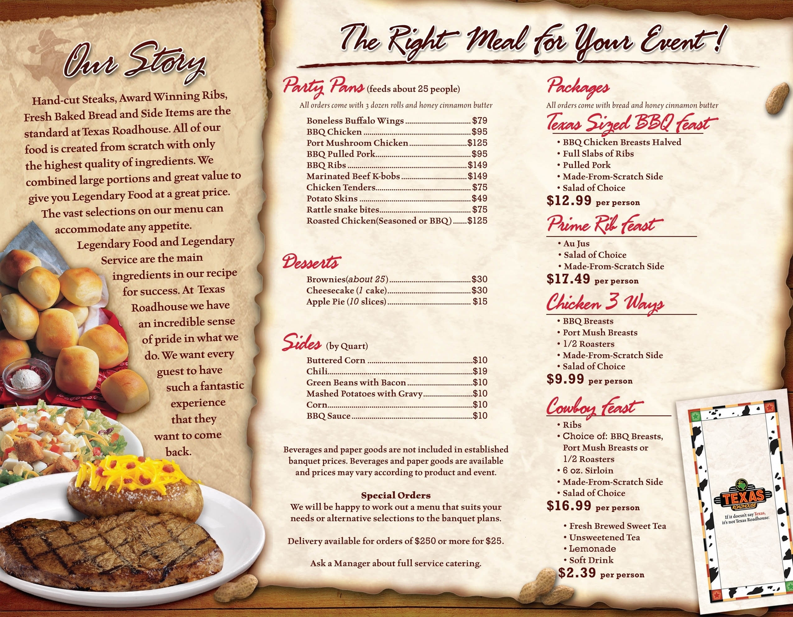 Texas Roadhouse Dessert Menu  Texas Roadhouse Menu Pdf