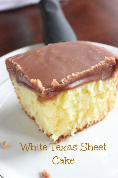 Texas Sheet Cake Frosting  White Texas Sheet Cake with Chocolate Fudge Frosting
