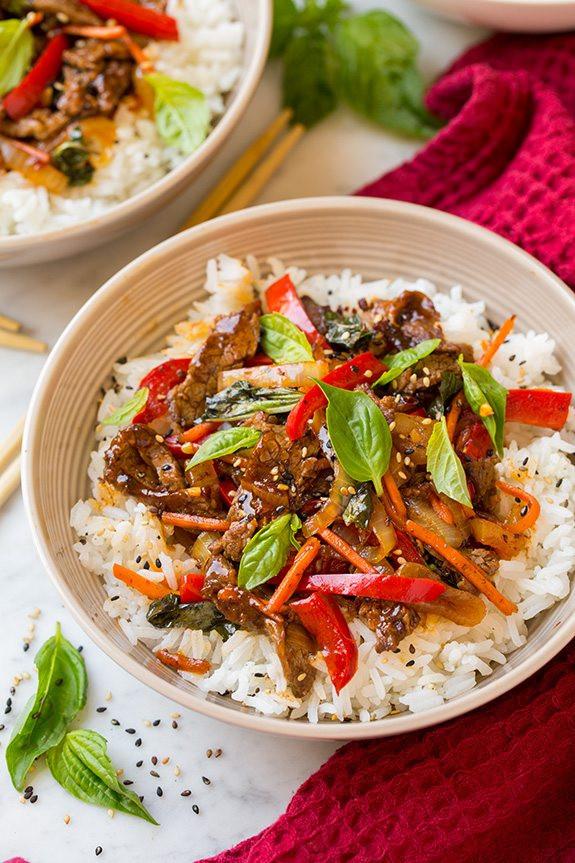 Thai Basil Recipes  Thai Basil Beef Bowls Cooking Classy