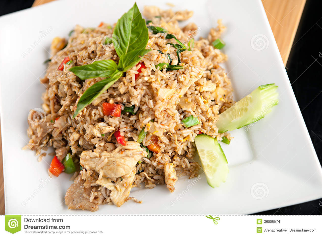 Thai Chicken Fried Rice  Thai Fried Rice With Chicken Stock Image