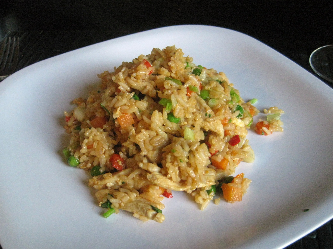 Thai Chicken Fried Rice  My Life A Plate Thai Style Chicken Fried Rice