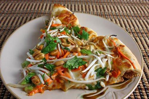 Thai Chicken Pizza  Thai Chicken Pizza with Spicy Peanut Sauce on Closet Cooking