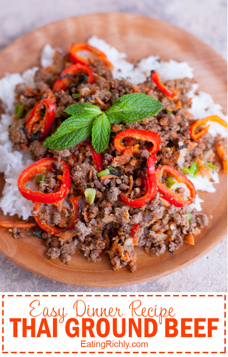 Thai Ground Beef  Thai Ground Beef Recipe with Mint Carrots and Peppers