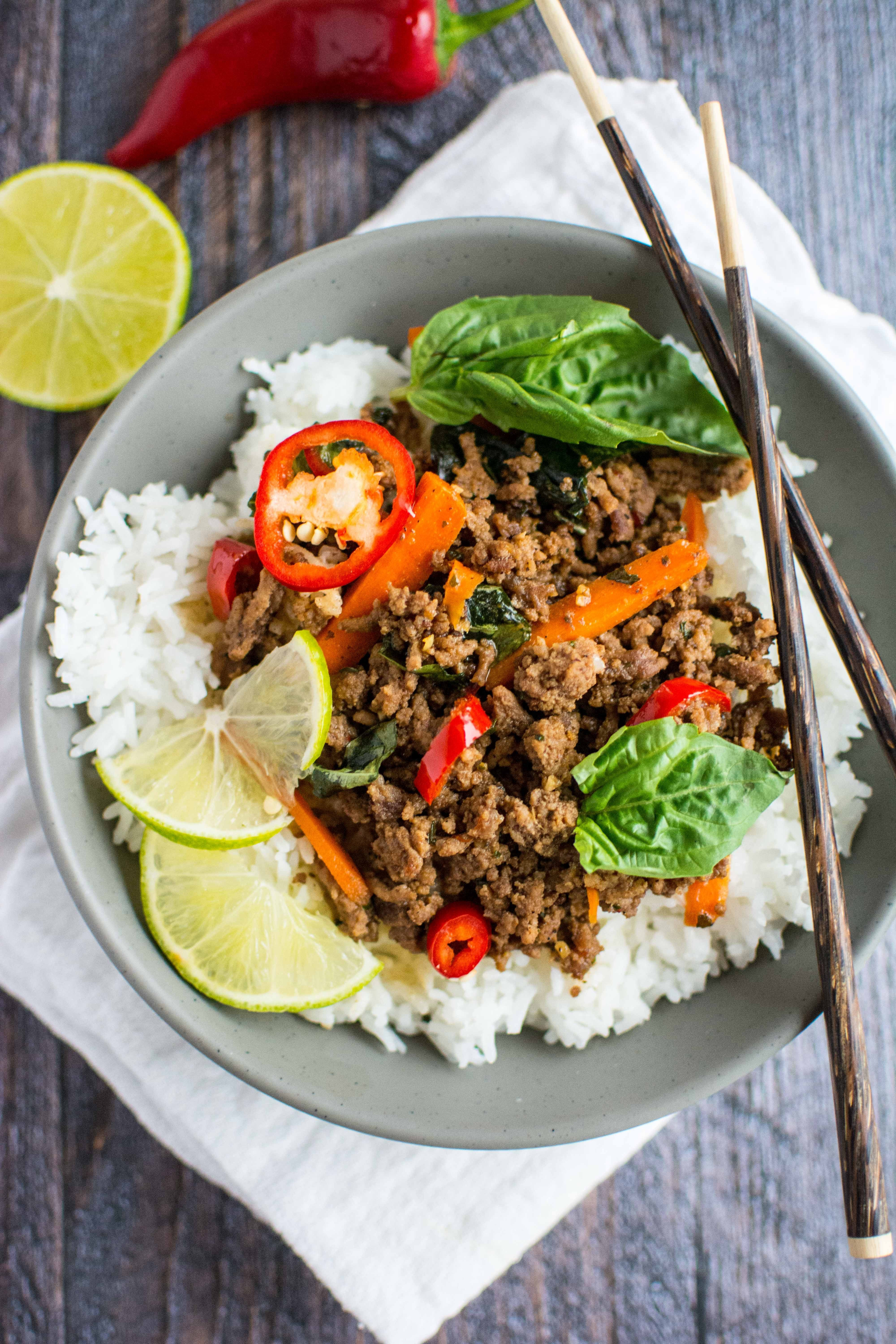 Thai Ground Beef  Quick Fix Meal Thai Basil Beef Slow Cooker Gourmet