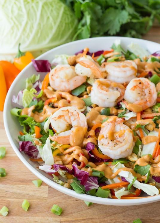 Thai Shrimp Salad  Grilled Shrimp Thai Salad with a Spicy Peanut Dressing