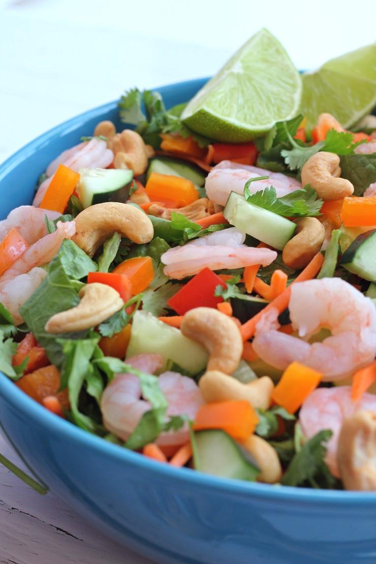 Thai Shrimp Salad  Thai Shrimp Salad Almond Dressing Paleo Whole30