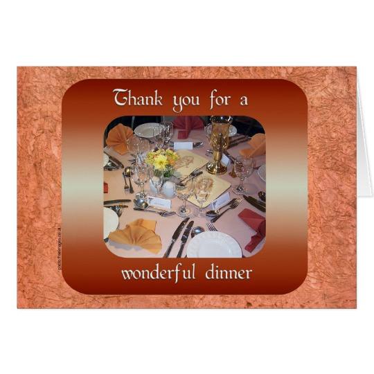 Thanks For Dinner  Thank You for Dinner Card