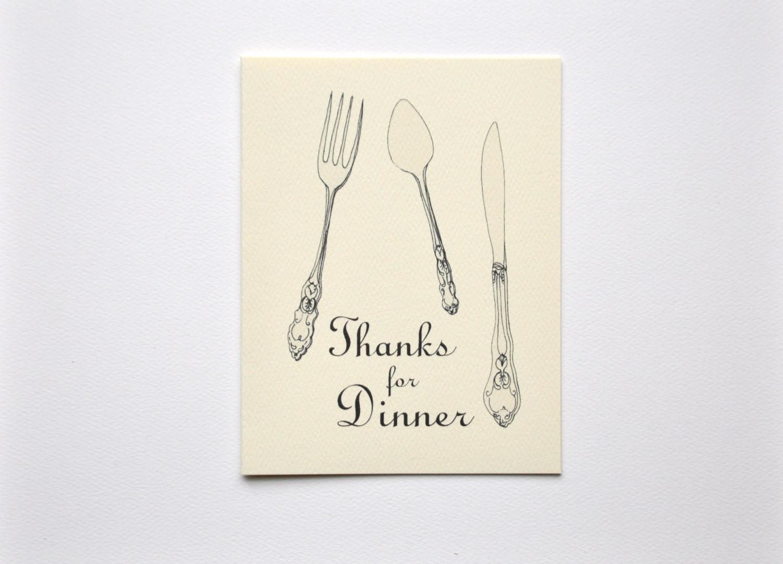 Thanks For Dinner  Thanks for Dinner Note Cards