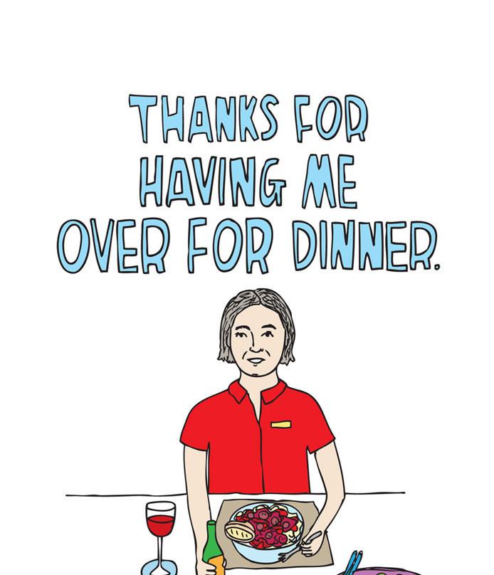 Thanks For Dinner  Thank you card Thanks For Having Me Over For Dinner