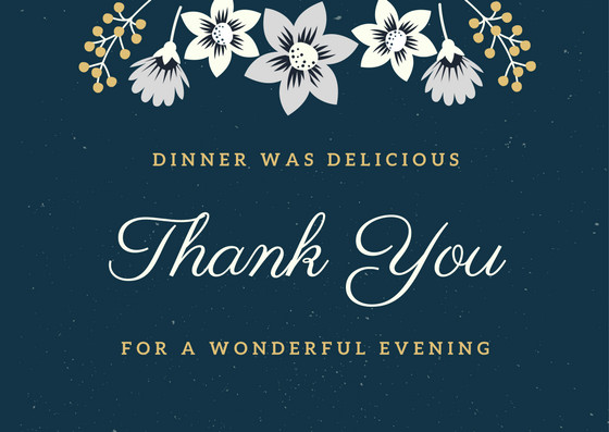 Thanks For Dinner  Dinner Thank You Notes