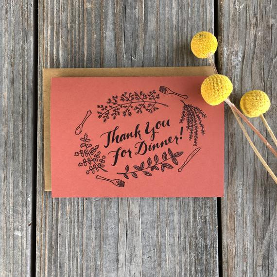 Thanks For Dinner  Thank You For Dinner Cards Dinner Thank You by ChampaignPaper