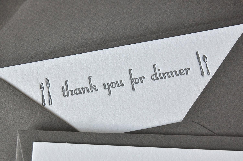Thanks For Dinner  Thank you for dinner note card Silver Grey letterpress
