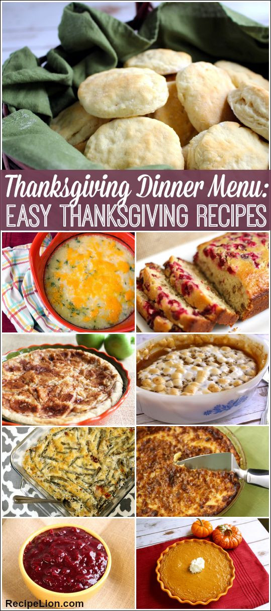 Thanksgiving Dinner Ideas Pinterest  Thanksgiving Dinner Menu 22 Easy Thanksgiving Recipes