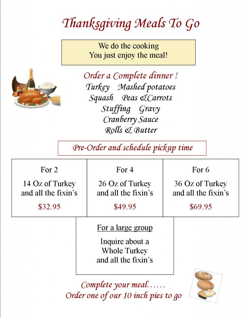 Thanksgiving Dinner To Go  Thanksgiving dinner to go 2014