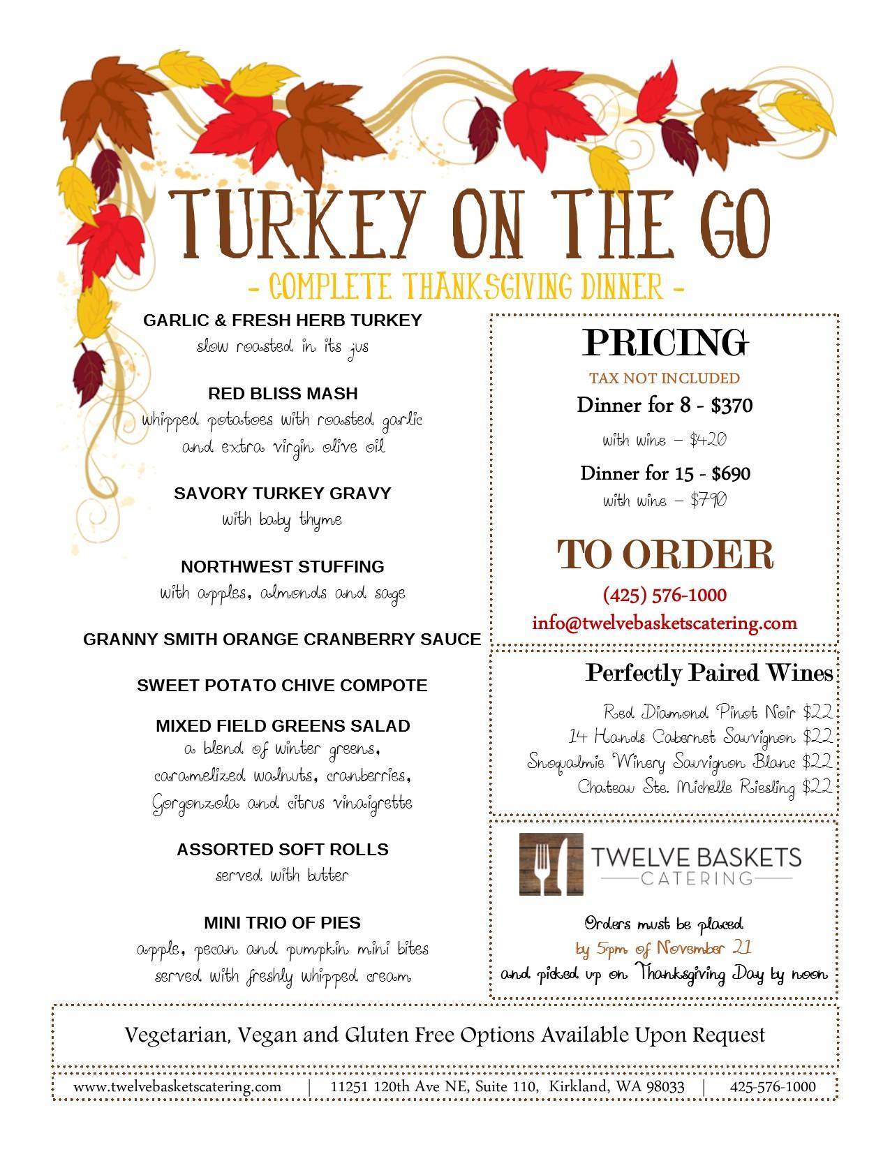Thanksgiving Dinner To Go  Turkey The Go – plete Thanksgiving Dinner from