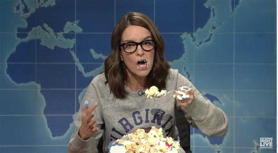 "Tina Fey Sheet Cake  Tina Fey Imparts Sheet Cake Fueled Wisdom on SNL ""Who"
