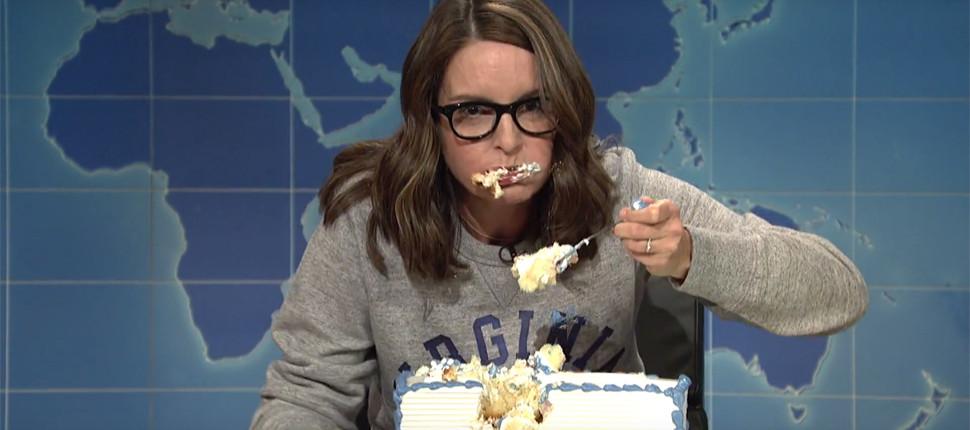 Tina Fey Sheet Cake  SNL s Tina Fey Mentions Standing Rock in Sheet Cake Skit