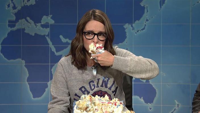 Tina Fey Sheet Cake  Feeling stressed Scream at a cake SBS Food